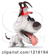 Clipart Of A 3d Walking And Panting Jack Russell Terrier Dog Wearing A Hat Royalty Free Vector Illustration