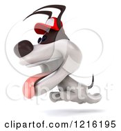 Clipart Of A 3d Running Jack Russell Terrier Dog Wearing A Hat Royalty Free Vector Illustration