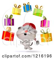 Clipart Of A 3d White Christmas Cat Juggling Presents Royalty Free Vector Illustration