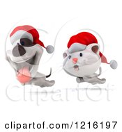 Clipart Of A 3d Christmas Cat Chasing A Jack Russell Terrier Dog Royalty Free Vector Illustration by Julos