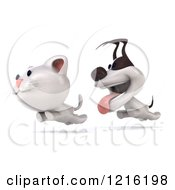 Clipart Of A 3d Jack Russell Terrier Dog Chasing A Cat 2 Royalty Free Vector Illustration by Julos