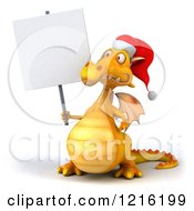 Clipart Of A 3d Yellow Christmas Dragon Wearing A Santa Hat And Holding A Sign Royalty Free Vector Illustration
