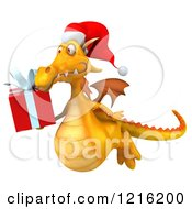 Clipart Of A 3d Yellow Christmas Dragon Flying With A Present Royalty Free Vector Illustration