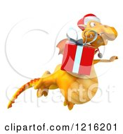 Clipart Of A 3d Yellow Christmas Dragon Flying With A Present 2 Royalty Free Vector Illustration