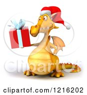 Clipart Of A 3d Yellow Christmas Dragon Holding A Present 3 Royalty Free Vector Illustration