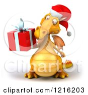 Clipart Of A 3d Yellow Christmas Dragon Holding A Present 2 Royalty Free Vector Illustration