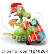 Clipart Of A 3d Green Dragon Pushing Christmas Presents On A Dolly 3 Royalty Free Vector Illustration