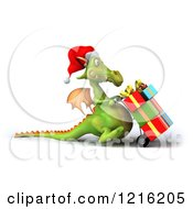 Clipart Of A 3d Green Dragon Pushing Christmas Presents On A Dolly 4 Royalty Free Vector Illustration