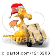 Clipart Of A 3d Yellow Christmas Dragon Pushing Boxes On A Dolly Royalty Free Vector Illustration