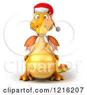 3d Yellow Christmas Dragon Wearing A Santa Hat
