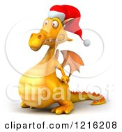 3d Yellow Christmas Dragon Wearing A Santa Hat And Facing Left