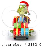 Clipart Of A 3d Green Dragon Pushing Christmas Presents On A Dolly Royalty Free Vector Illustration