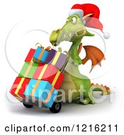 Clipart Of A 3d Green Dragon Pushing Christmas Presents On A Dolly 2 Royalty Free Vector Illustration