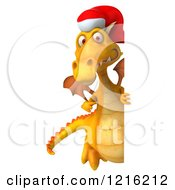 Clipart Of A 3d Yellow Christmas Dragon Wearing A Santa Hat By A Sign Royalty Free Vector Illustration