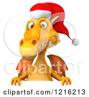 Clipart Of A 3d Yellow Christmas Dragon Wearing A Santa Hat Over A Sign Royalty Free Vector Illustration