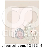 Clipart Of A Horse Holding Up A Lucky Horseshoe With Copyspace Royalty Free Vector Illustration