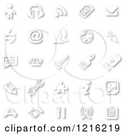 Poster, Art Print Of White Minimalist Icons With Shadows 2
