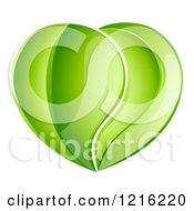 Clipart Of A Heart Made Of Reflective Green Leaves Royalty Free Vector Illustration