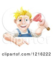 Clipart Of A Happy Young Blond Plumber Holding A Plunger And Pointing Down At A Sign Royalty Free Vector Illustration