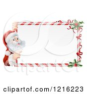 Clipart Of A Candy Cane Christmas Sign With Santa And Holly Royalty Free Vector Illustration