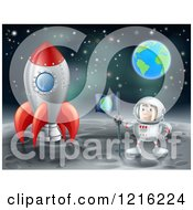 Clipart Of An Astronaut With A Flag Standing On The Moon By A Rocket With Earth In The Distance Royalty Free Vector Illustration by AtStockIllustration