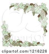 Clipart Of Vintage Green Grape Vine Corner Borders Royalty Free Vector Illustration by AtStockIllustration