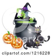 Clipart Of A Witch Touching Her Hat Behind A Boiling Halloween Cauldron Black Cats And Jackolanterns Royalty Free Vector Illustration by AtStockIllustration