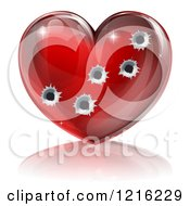 Clipart Of A 3d Glossy Red Heart With Bullet Holes Royalty Free Vector Illustration