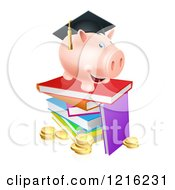Clipart Of A Graduate Piggy Bank On A Pile Of Books Over Coins Royalty Free Vector Illustration