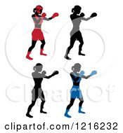Clipart Of Silhouetted Female Boxers In Different Colored Gear Royalty Free Vector Illustration by AtStockIllustration