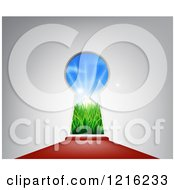 Clipart Of A Red Carpet Leading To A Key Hole With An Idyllic Field With Sunshine And Grass Royalty Free Vector Illustration by AtStockIllustration
