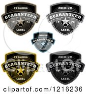 Clipart Of Quality Shields With Stars Rays And Sample Text Royalty Free Vector Illustration by BestVector