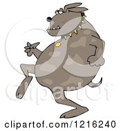 Clipart Of A Sneaky Dog Running Upright Royalty Free Vector Illustration