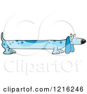 Clipart Of A Long Blue Dog Royalty Free Vector Illustration