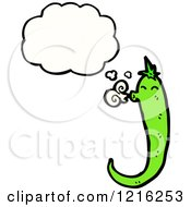 Cartoon Of A Thinking Chili Pepper Royalty Free Vector Illustration by lineartestpilot