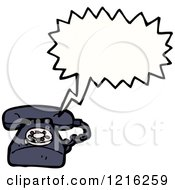 Cartoon Of A Speaking Landline Telephone Royalty Free Vector Illustration