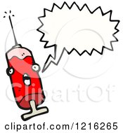 Cartoon Of A Hypodermic Needle Speaking Royalty Free Vector Illustration by lineartestpilot