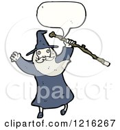 Cartoon Of A Speaking Wizard Royalty Free Vector Illustration