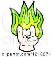 Cartoon Of A Flaming Hand Sign Royalty Free Vector Illustration