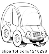 Clipart Of A Black And White Hungry Compact Car Character Royalty Free Vector Illustration