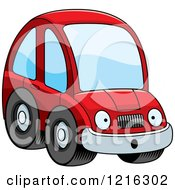 Clipart Of A Surprised Red Compact Car Character Royalty Free Vector Illustration by Cory Thoman