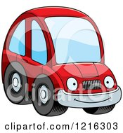 Clipart Of A Smiling Red Compact Car Character Royalty Free Vector Illustration