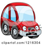 Clipart Of A Scared Red Compact Car Character Royalty Free Vector Illustration by Cory Thoman
