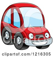 Clipart Of A Grinning Red Compact Car Character Royalty Free Vector Illustration by Cory Thoman