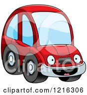 Clipart Of A Happy Red Compact Car Character Royalty Free Vector Illustration by Cory Thoman