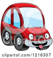 Clipart Of A Hungry Red Compact Car Character Royalty Free Vector Illustration by Cory Thoman