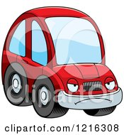 Clipart Of A Mad Red Compact Car Character Royalty Free Vector Illustration by Cory Thoman