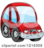 Clipart Of A Depressed Red Compact Car Character Royalty Free Vector Illustration by Cory Thoman