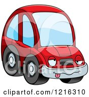 Clipart Of A Drunk Red Compact Car Character Royalty Free Vector Illustration by Cory Thoman