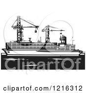 Clipart Of A Woodcut Container Ship With Rigs In Black And White Royalty Free Vector Illustration